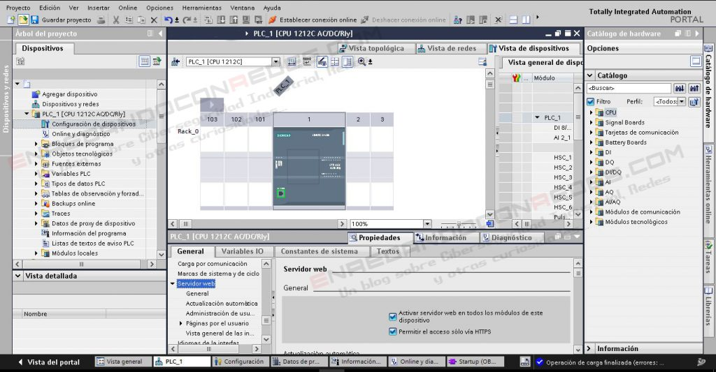 Configuración interfaz Web HTTPS PLC Siemens S7-1200