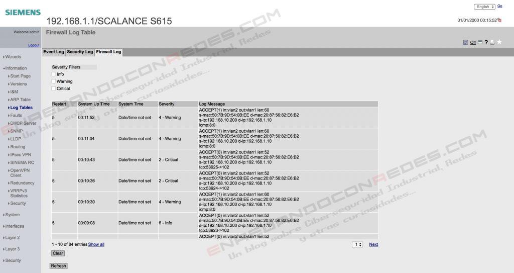Siemens Scalance S615 local logs