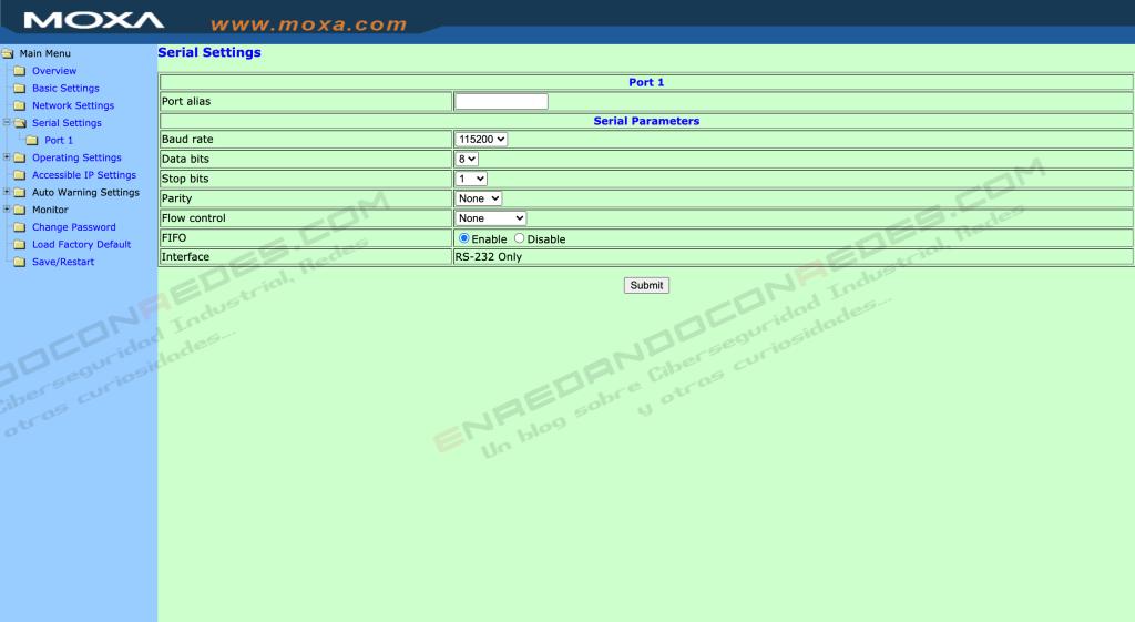 MOXA Nport Serial configuration