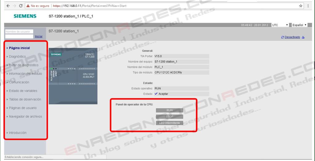Interfaz web PLC SIEMENS S7-1200